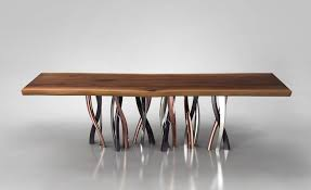 dining table legs. view in gallery live edge dining table curvaceous intertwined brass legs 2 thumb 630x385 20896 l