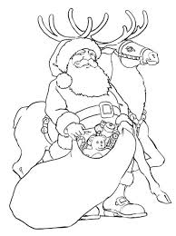 Santa And Rudolph Reindeer Giving Toys Christmas Coloring Page
