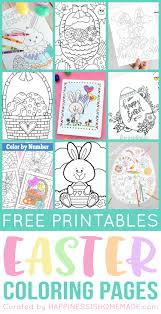 One pdf file of a color by number page of a spring time baby chick. Free Easter Coloring Pages Happiness Is Homemade