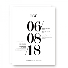 Black And White Invitation Paper Modern Black And White Bold Wedding Invitations Minimalist Wedding Invitations Wip055