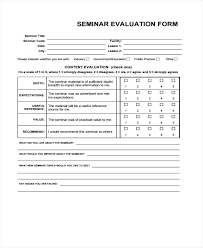 7 Seminar Evaluation Form Samples Free Sample Example Format For ...
