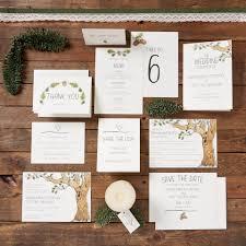 Wedding Invitations With Tree Designs Oak Tree Design Wedding Invitation Set Hand Drawn Sketched