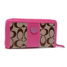 Coach Zippy In Signature Large Pink Wallets BLU