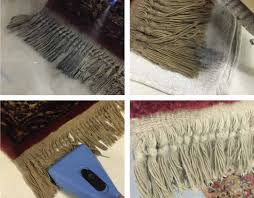 cleaning the fringe on an oriental rug