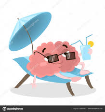 brain on vacations relaxing on the beach with tail and sungles vector by inspiring vector gmail