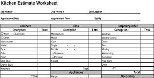kitchen cost estimate sheet kitchen