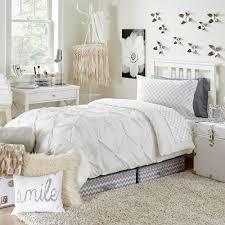 white kiss pleat premium twin xl comforter  dorm bedding and bath