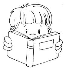 606x640 child reading a book clipart black and white