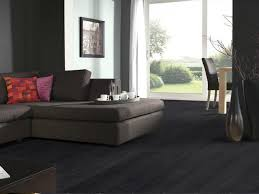 Dark Laminate Flooring For Living Room With Fabric Sectional Sofa In  Minimalist Home Interior Design ...