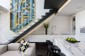 Modern stairs in small apartment by SAOTA, De Waterkant, Cape Town