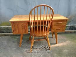 teak retro scandinavian furniture windsor chair and writing desk by jepara goods indonesian craftsman at factory