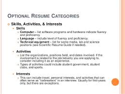 OPTIONAL RESUME CATEGORIES Skills, Activities, & Interests Skills Computer  list software programs