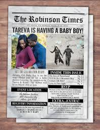 Newspaper Baby Shower Invitationt Birth Announcement Baby
