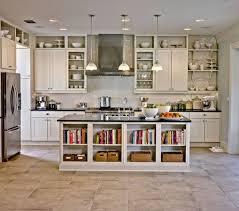 open shelving above kitchen cabinets