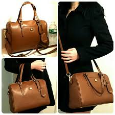 New Coach Saffiano Medium Satchel saddle brown