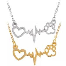 heartbeat and paw print pendant necklace