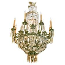 a french bronze empire style chandelier decorated with glass beads and udrops status for reference tg 10 08 678 condition very good year 1920 s
