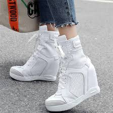 High Top <b>Trainers Women</b> Breathable <b>Cow</b> Leather High Heel Party ...