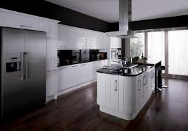 White Gloss Kitchen High Gloss Kitchen Cabinets On Side By Side Built In And Oven High
