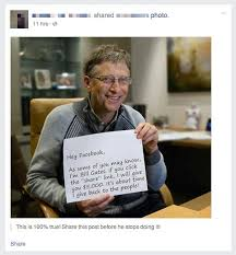 bill gates offers for a facebook share it s a bad joke bill gates hoax message