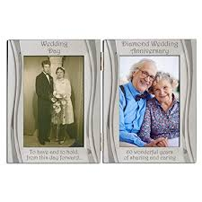 diamond 60th wedding anniversary silver plated velvet backed double photo frame matt