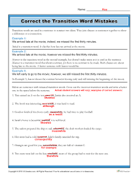 Transistion Words Correct The Transition Word Mistakes Worksheet