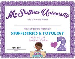 doc mcstuffins birth  doc mcstuffins party diploma certificate for guests