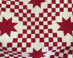 Red star quilt | Etsy & Quilt Twin Triple Irish Chain with Star Red and White Made to Order Adamdwight.com