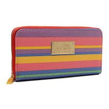 Coach Poppy Striped Large Red Multi Wallets EVB