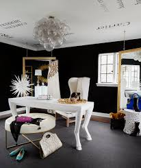black white home office inspiration. tour this amazing fashion bloggeru0027s transitional home office black white inspiration r