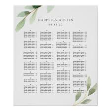 Seating Chart In Alphabetical Order Alphabetical Order Green Wedding Seating Chart