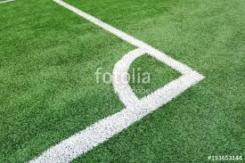 green grass soccer field. Corner Soccer Field Or Football Texture Background. White Lines On Green Grass. Sport Grass
