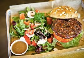 veggie burger with side salad