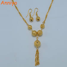 ball n chain. anniyo bead necklace earrings set jewelry gold color round ball chain for women,africa/ n