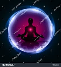 Purple Light In Meditation Man Meditation Blue Purple Light Abstract Stock Vector