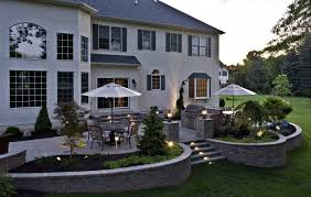 lovable raised stone patio ideas paver patios with lighting seat wall landscape raised patio landscaping s61 patio