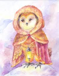 Owl With A Lamp Watercolor Painting Illustration With A Magic