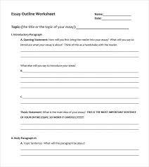 7 Paragraph Essay Outline 60 Esay Outline Workshet 5 Paragraph Essay Outline Worksheet