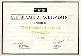 Award And Certificates From Western Union