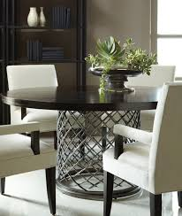 bernhardt hallam dining table with wood top hand hammered stainless steel flat
