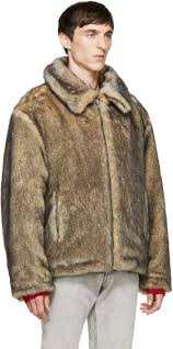gosha rubchinskiy men s faux fur jacket