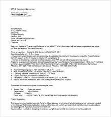 Resume Format Of Mca Freshers | Krida.info