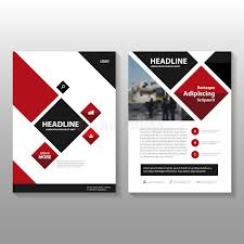 abstract square red black leaflet brochure flyer template design book cover layout design stock