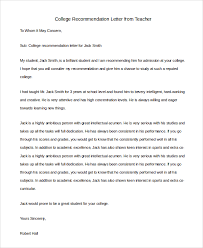 letter of recommendation from college professor sample letter of recommendation for teacher 8 examples in pdf word