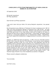 Condolence Letter Example Condolence Letter Sample Formal It Resume Cover With Regard 13