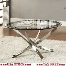 Round glass top Mirror Table Image Is Loading Roundglasscleartopcoffeetablechromemetal Ebay Round Glass Clear Top Coffee Table Chrome Metal Legs Modern Cocktail