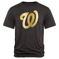 Washington Nationals Collection Tri-blend Apparel - Fanatics Black Gold T-shirt