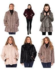 womens las full faux fur coat short mid length jacket warm winter size 8 16