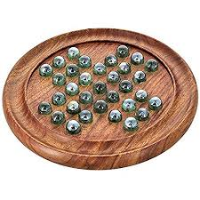 Game With Marbles And Wooden Board Classy Games Solitaire Board In Wood With Glass Marbles Shalincraft