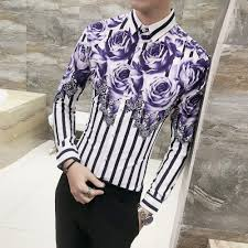 Mens Sleeve Designs Us 19 57 50 Off 2018 Latest Designs Fancy Shirt Men Flower Printing Casual Long Sleeve Shirt Male Party Prom Dress Slim Fit Mens Striped Shirts In